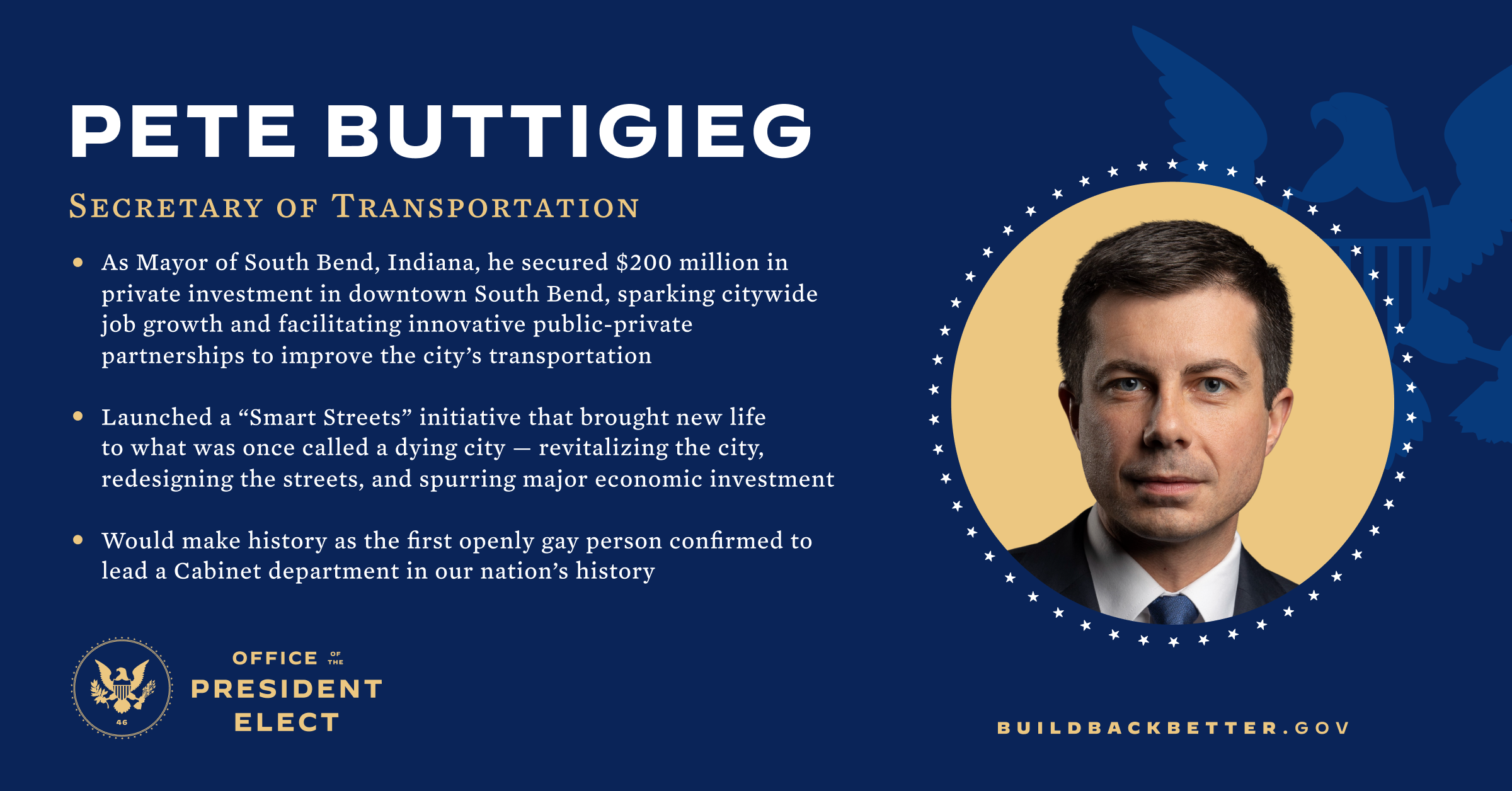 Image result for pete buttigieg for transportation sec